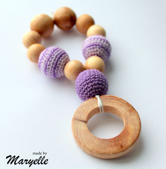 Baby Teething Toy / Wooden Teething Ring in by ForYourHappyBaby