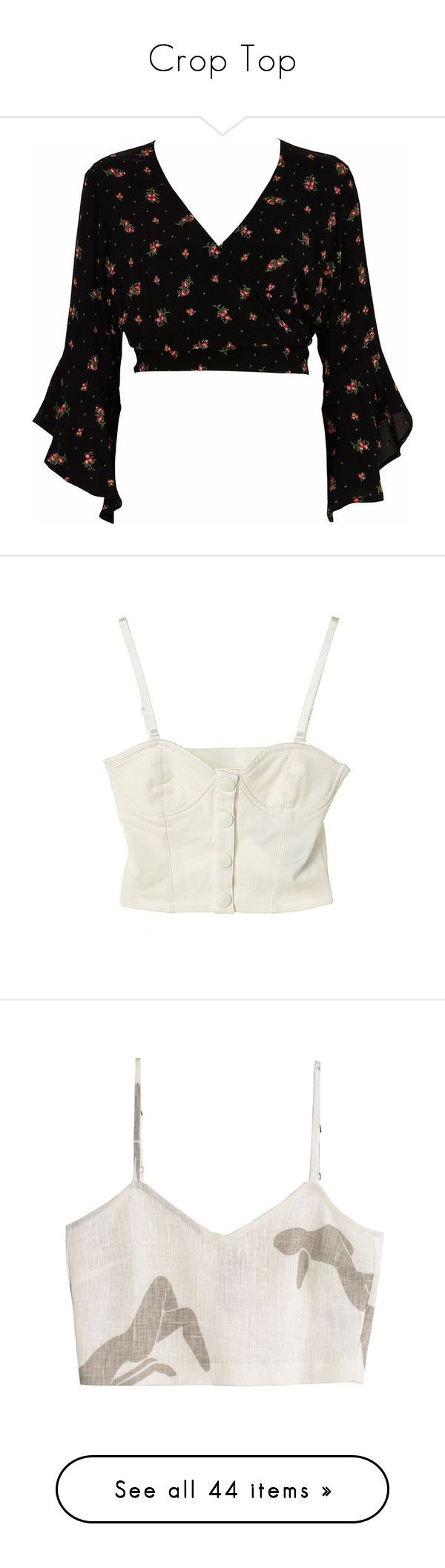 """""""Crop Top"""" by eleonore-plot ❤ liked on Polyvore featuring tops, shirts, crop tops, cropped, black, sale, women, tie neck tie, shirt crop top and 3 4 sleeve crop top"""