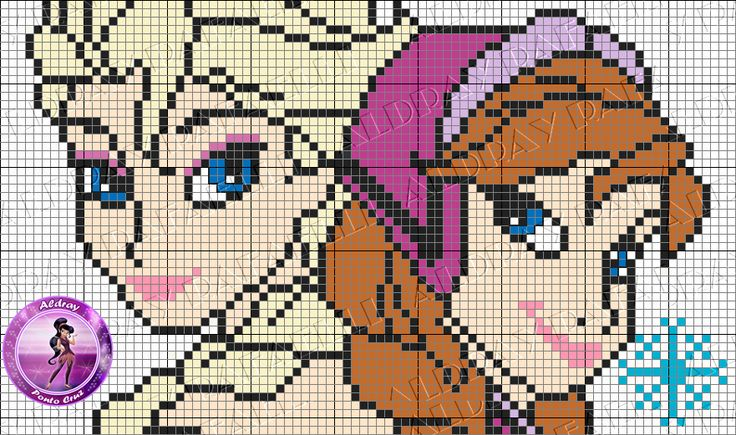 Elsa and Anna Frozen perler pattern by Aldray Ferreira
