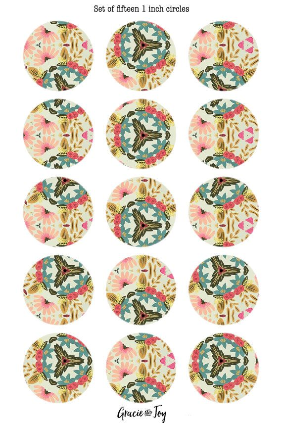 This listing is for:  - 1 sheet size: 4x6 with fifteen 1 inch circles. - High quality 300 DPI jpeg file  Colorful boho inspired floral print. Perfect for pendants, buttons and magnets. You will receive 1 4 x 6 sheet of fifteen 1 inch circles.  Grab the 10 mm circles for the perfect matching earrings here:  https://www.etsy.com/listing/481291124/boho-floral-10-mm-digital-collage-sheet  If you have any questions about this item, please feel free to send me a convo befor...