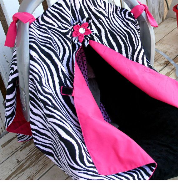 Hey, I found this really awesome Etsy listing at http://www.etsy.com/listing/128384633/hot-pink-and-zebra-print-car-seat-canopy