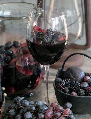 Black Sangria 1.5 liters of sweet red wine 14 oz. of DeKuyper Blackberry Brandy 14 oz. of cranberry juice (not concentrate or cocktail – straight juice) 6 oz. of Tuaca Keep refrigerated. Put out about 45 minutes prior to serving, diluting in ice. Garnish with your favorite fruits (blackberries, oranges, black cherries, etc….)
