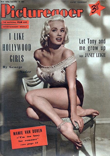 Mamie Van Doren on the cover of Picturegoer magazine, 10 September, 1955.