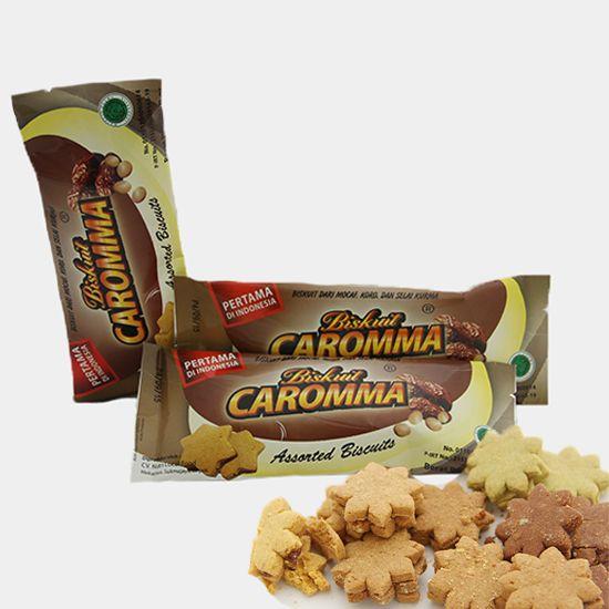 Biskuit Caromma | Harga: Rp 10.000 | Rasa: Coklat, Pandan, Nangka, dan Mocca | Isi Kemasan: 13 – 15 Buah | Berat: 90 Gram