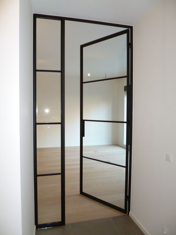 Steel-framed glass door
