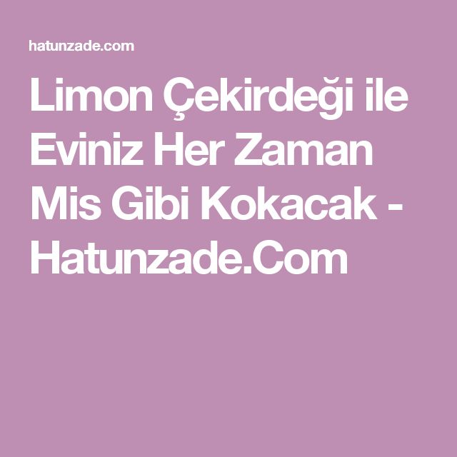 Limon Çekirdeği ile Eviniz Her Zaman Mis Gibi Kokacak - Hatunzade.Com