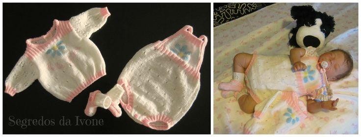 B117 - Conjunto de tricot composto por casaquinho, calcinha e sapatinho.