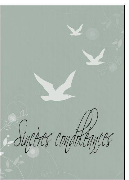 Carte Sinc�res condol�ances avec des oiseaux pour envoyer par La Poste, sur Merci-Facteur !