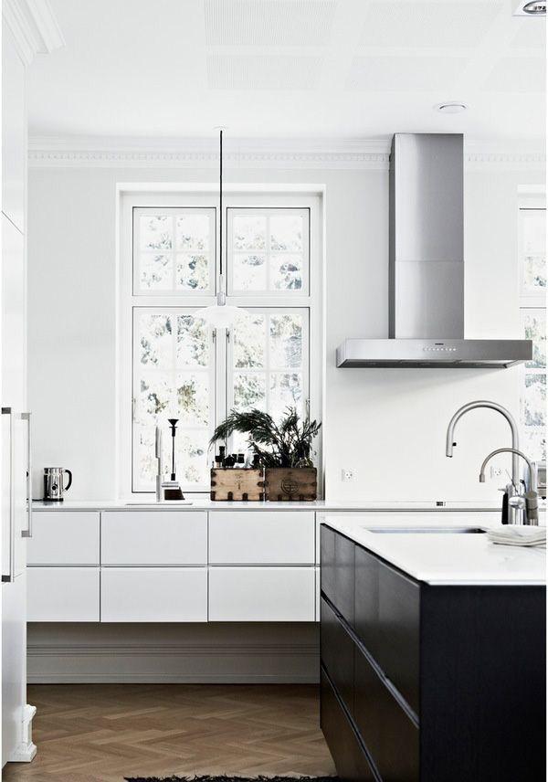 Classical modern kitchen with herringbone floor