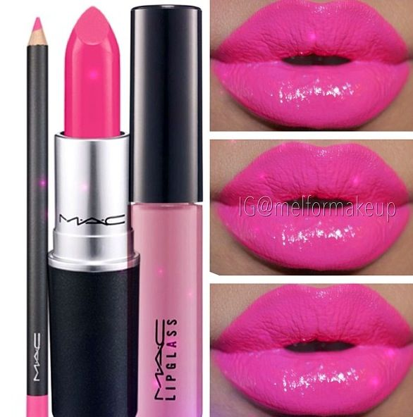 MAC silly lipstick and lip liner with snob lip glass - need this in my life!