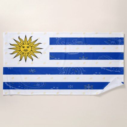 Uruguay Flag Beach Towel - trendy gifts cool gift ideas customize
