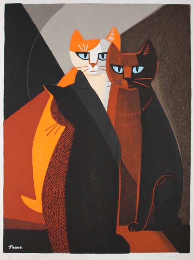 Tomoo Inagaki (Japan, 1902-1980) - Cats By Fireplace No. 3, c. 1960 - Color woodcut print