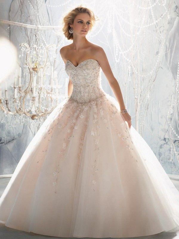 A-line/Princess Sweetheart Applique Court Train Organza Wedding Dresses - Angela Mall