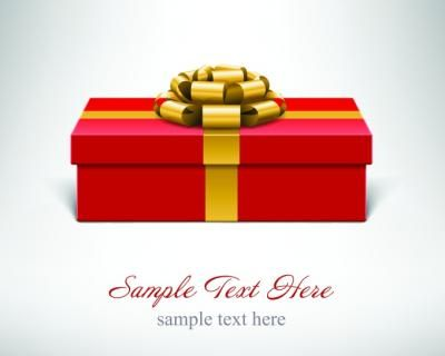 Red present box vector with golden ribbon on a white and grey background. Text can be written below the present.