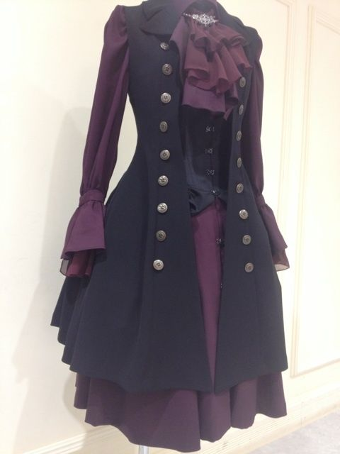 Ghost In the Forest #Goth steampunk coat and ruffled sleeve blouse