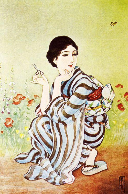 taishou-kun:  Takabatake Kasho 高畠華宵 (1888-1966) Gogatsu no niwa 五月の庭 (Garden in May) - 1930