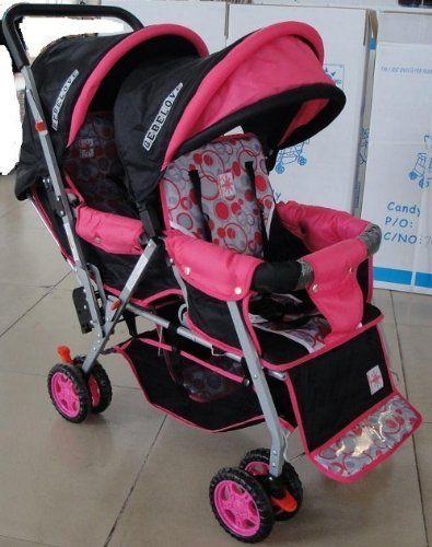 Bebelove 425s Tandem Stroller In Pink Black Twins