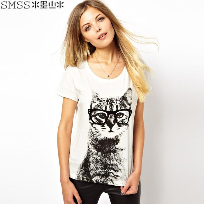 Brand design womens cotton t shirt with wearing glass cat print for dropship-inT-Shirts from Apparel & Accessories on Aliexpress.com