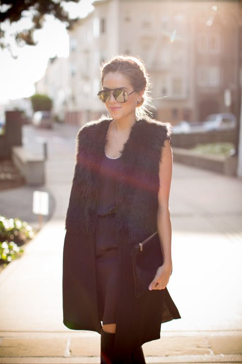 NastyGal Vest, Dress via Mill Mercantile SF, DV by Dolce Vita Boots, Givenchy Sunglasses, Clare...