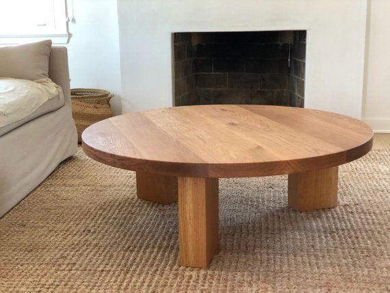40 White Oak Modern Round 3 Leg Coffee Table Etsy Coffee Table Round Wood Coffee Table Modern Round