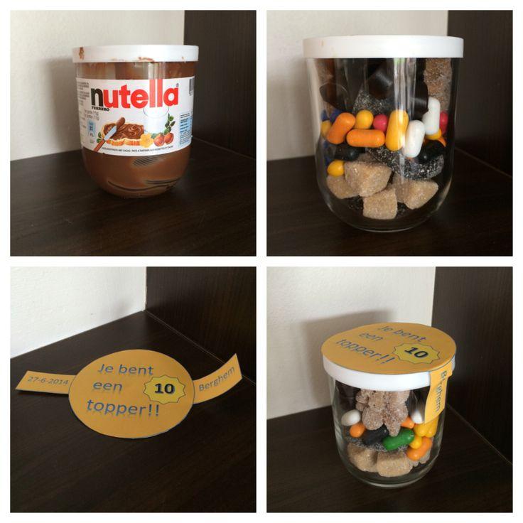 Nutella potje wordt verrassing na de avondvierdaagse.  Het rondje is 7,7 cm en dat kun je in MS word bewerken/persoonlijk maken!