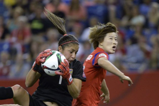 South Korea's Younga Yoo, right, challenges Costa Rica goalkeeper Dinnia Diaz