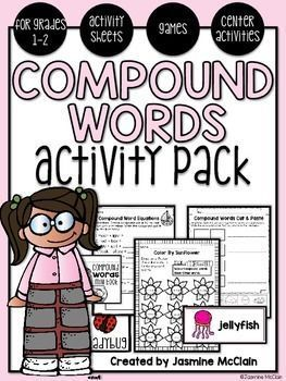 The Compound Words Activity Pack contains a variety of resources for students to practice compound words. Inside you'll find activity sheets, games, flipbooks, and center activities that all focus on students reading and creating compound words.
