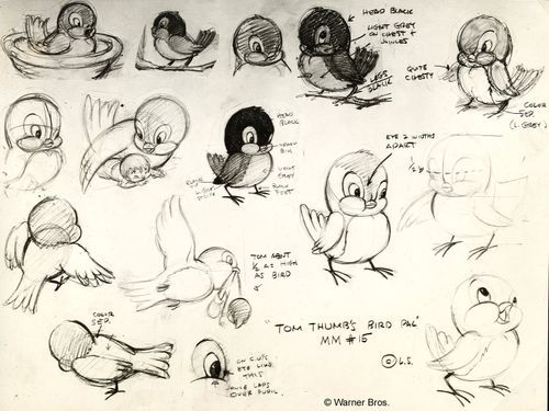 Amazing drawings of a bird character by Chuck Jones for Tom Thumb in Trouble, a short film produced 1940