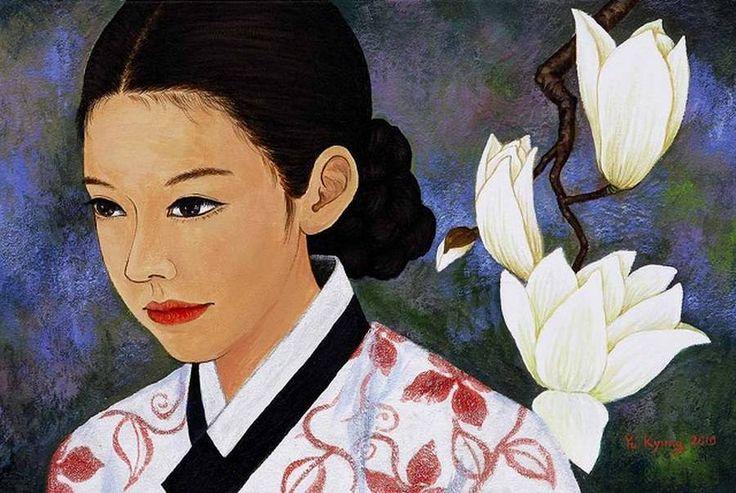 Девушки и цветы от корейской художницы Yu Kyung. Обсуждение на LiveInternet - Российский Сервис Онлайн-Дневников