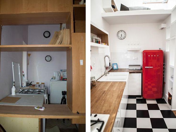 A tu ta sama mała kuchnia przed i po remoncie. Można? Można!  Białe kolory ścian i jasne meble w kawalerce projektu ZUPART Studio, rozdzielono mocnymi akcentami, jak na przykład czerwona lodówka