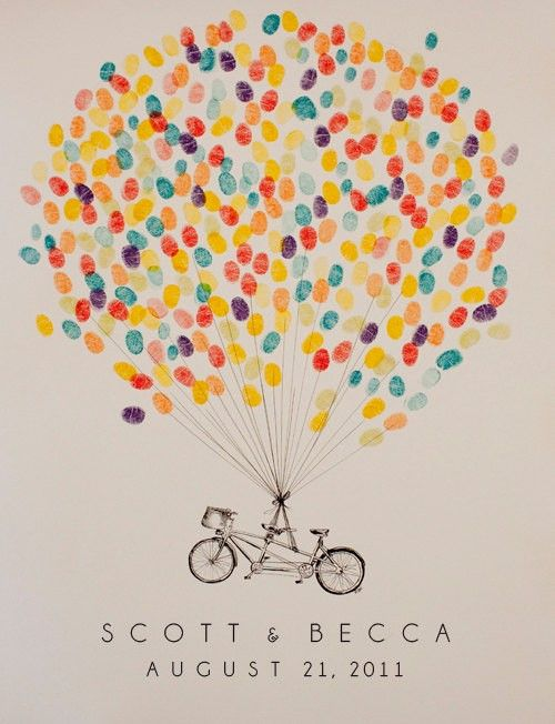 Great guestbook idea for an Up! themed wedding - just change the bike into the Up! house :)