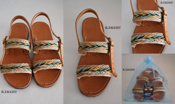 Handmade Leather Greek Sandals Costas Pavlidis, Colourful Braids, Burlap!!! Il Tacco!!!