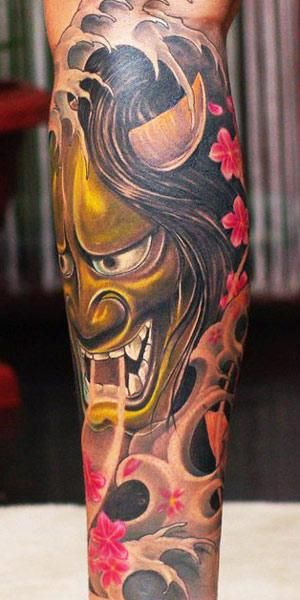 Japanese Mask Tattoo by Valio Ska - http://worldtattoosgallery.com/japanese-mask-tattoo-by-valio-ska-2/