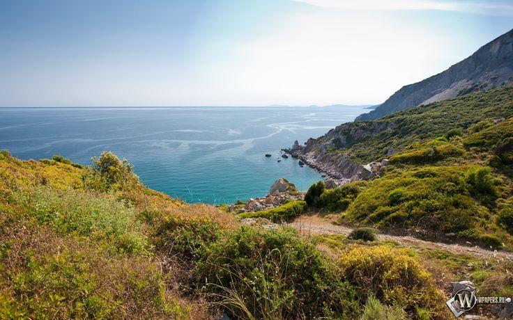 Обои, Вид на океан, Вода, Природа, Океан, Скалы, Берег, Небо, Пейзаж, Растения, 1920x1200, картинки