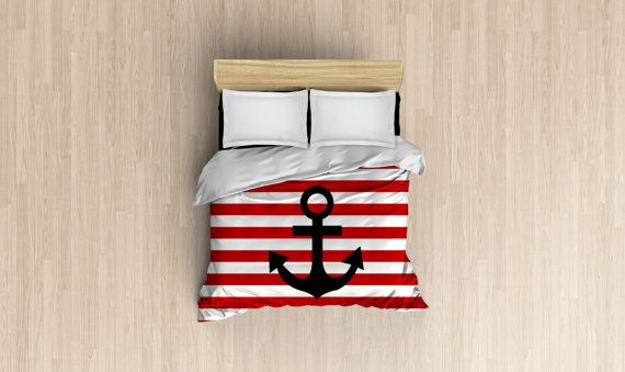 Red & White Striped Nautical  Duvet Cover. Available in Twin, Queen or King Sizes.