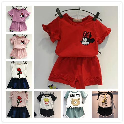 15 colors kids clothing sets short+t shirts sport suit vestidos children clothing boys shorts mickey mouse peppa pig clothing