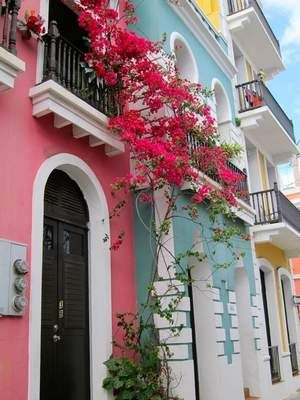 Old San Juan balconies, romantic street. Our Spanish heritage.  ❀༺♥༻puerto rico