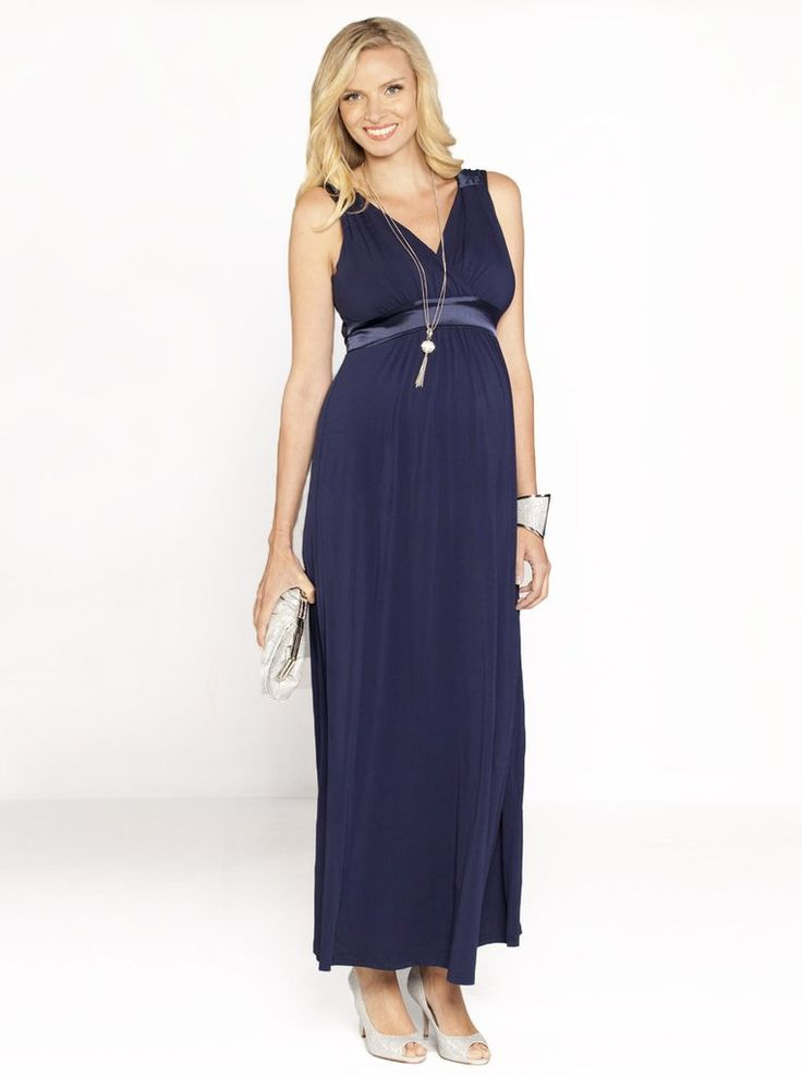 Elegant and comfortable Angel Maternity Evening Dress.  Made from imported jersey fabric this soft flowing dress features a cross over front neckline with satin trim on the shoulder and under bust.  This style can be worn from the moment you are pregnant till way after the birth. Fabric: 100% Polyester Gentle machine wash cold in a garment bag. Style No. 8030C