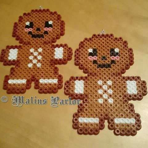 Christmas gingerbread men perler beads by malins.parlor