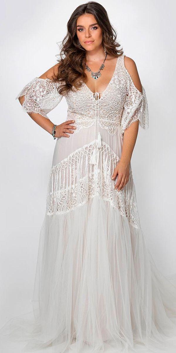 21 Amazing Boho Wedding Dresses With Sleeves Plus Size Wedding