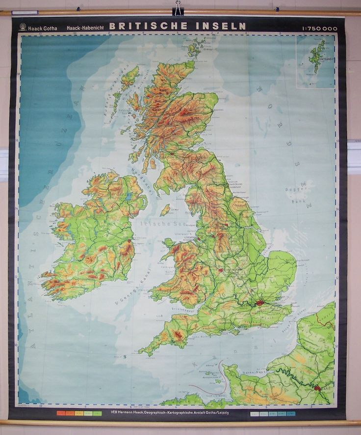 Britische Inseln (British Isles), Colorful Topographical/Political German Wall Map of British Isles ca 1930, Haack (Published: Haack 1930 ca. Gotha/Leipzig)