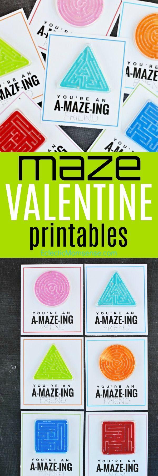 FREE Maze Valentine printables- An a-maze-ing kids Valentine card!