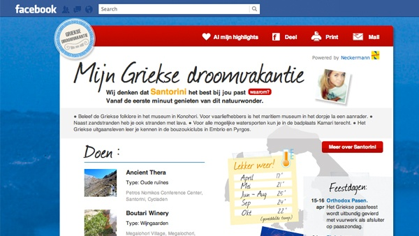 Neckermann Reizen Facebook app