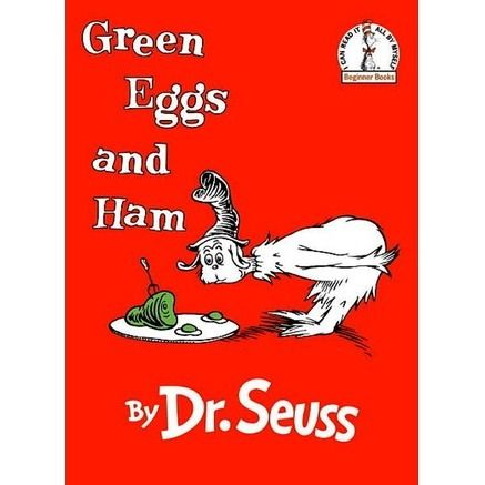 Green Eggs and HamWith his unmistakable characters and signature rhymes, Dr. Seuss's beloved Beginner Book has cemented it's place as a children's classic. Follow Sam I Am as he tries to convince an acquaintance that green eggs and ham is, indeed, a delectable meal to be savored everywhere and every way.