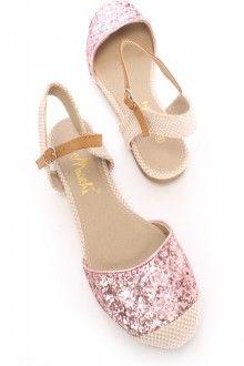 Pink Glittery Closed Toe Flats Canvas