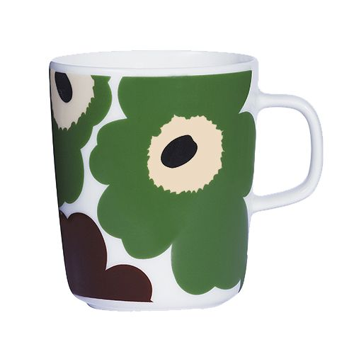 Though a special edition, this mug needn't be reserved for special occasions: the sturdy porcelain is freezer, microwave, oven and dishwasher safe to endure the demands of daily dinnerware. Marimekko Unikko Green / Brown Mug - Special Anniversary Edition