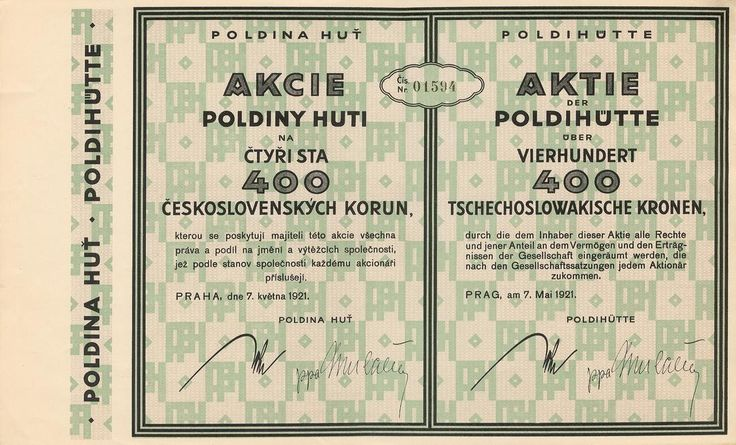 Poldina Huť (Poldihütte). Akcie na 400 Kč. Praha, 1920.