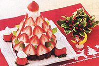 スポンジでデコレーションツリーケーキ