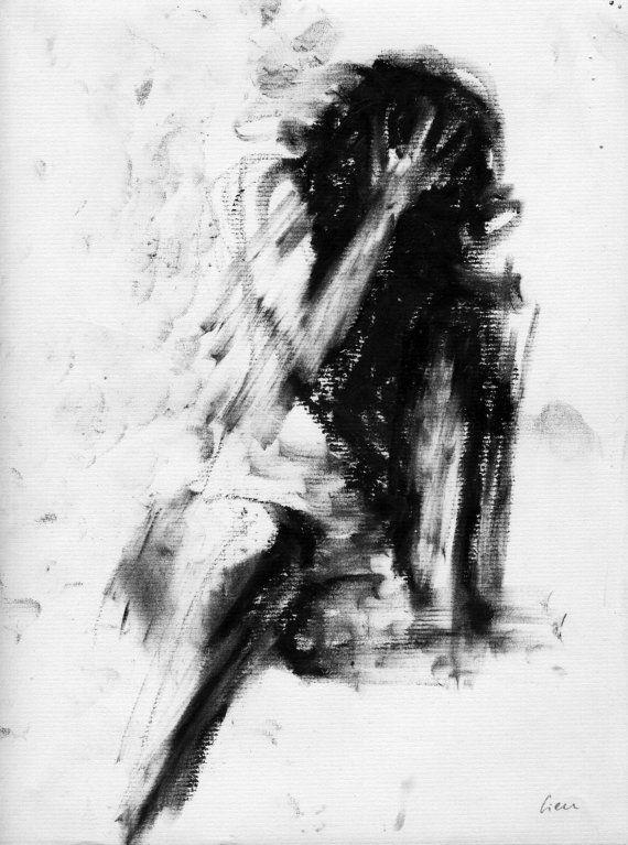 Haunting Figure Drawing Moody Dark Fine Art by ClaraLieuFineArt, $40.00