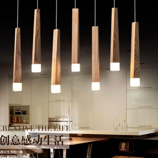 Moderne Art CHÊNE LED En Bois Pendentif Lumières Suspendus Bois Lampes Salle À Manger Restaurant Rétro Luminaires Luminaire